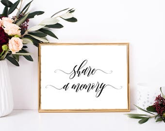 Share a memory sign, Share a memory printable sign, Share a memory card sign, Printable bachelorette party decorations, Bridal party signs