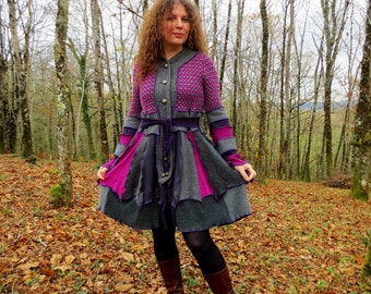 Short coat made of patchwork of wool and felt recycled gray and pink plum!