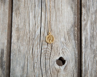 Gold coin necklace, simple necklace, GOLD long necklace, dainty necklace, everyday necklace, gift for her, long gold necklace