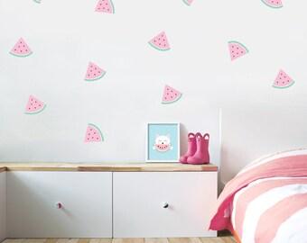 watermelon decals, watermelon wall decals, watermelon wall decor, girl wall art, watermelon stickers, fruit decals, ice cream decals