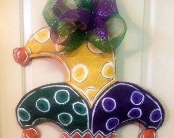 Mardi Gras Burlap Door Hanger