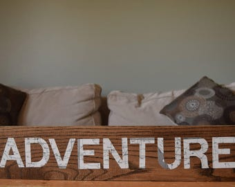 """Wood and Map """"ADVENTURE"""" Sign"""