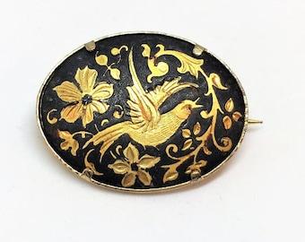 Vintage Damascene Bird FLoral Black Gold Oval Brooch Spain  1 1/4 inch