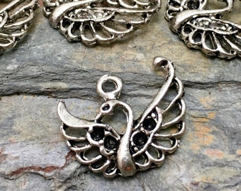 Filigree Swan Charms - Silver Tone - 10 Available