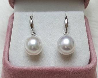 South Sea Pearl Earrings, 10mm, AAA, 18K hook, dangle.