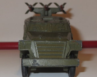 Soviet vintage military vehicle Katyusha rocket launcher Red Green toy rocket artillery made in USSR Collectible toy Metal scale anti tank