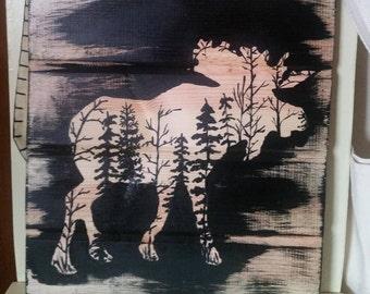 Rustic Primitive Moose Silhouette on Barnsiding