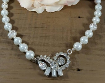 Vintage repurposed rhinestone and pearl wedding necklace