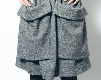 Handmade woolen skirt with big pockets/autumn-winter skirt/warm skirt