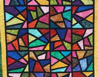 Beautiful Stained Glass Quilt-SOLD