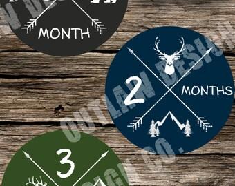 Baby Boy Monthly Milestone Markers Printable Instant Download Deer Bear Arrows Hunting Fish Moose Rugged Adventure Woodland Outdoor Explorer