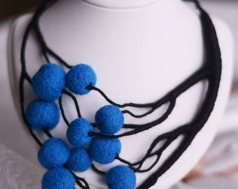 Blue necklace, black necklace, wool jewelry, gift for sister, handmade jewelry, creative necklace, wool necklace, boho, fashion jewelry