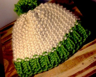 Cozy Hand Knitted Beanie/Hat (Green & Beige)
