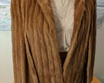 Capwells mink fur light chocolate brown coat film noir