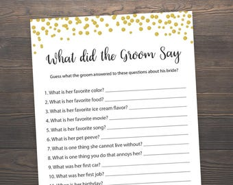 What did the groom say, Bridal Shower Games, What did he say about her, Gold Bridal Shower, Gold Confetti, Bride Groom Game, Printable, GCB3