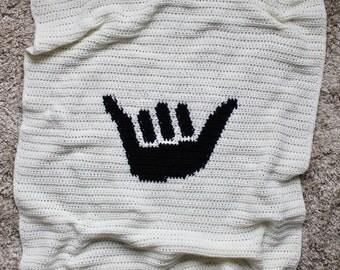 Crochet Baby Blanket, Hawaiian Baby Blanket, Shaka Blanket, Ready to Ship