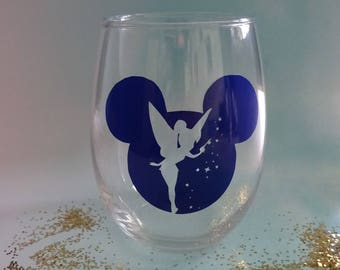 Disney Tinkerbell Vinyl, Stemless Wine Glass