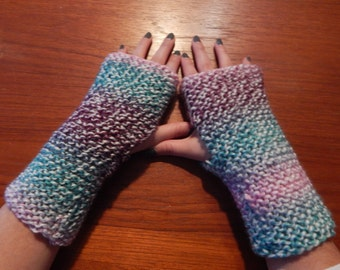 Colorful Purple Blue Fingerless gloves hand warmers Knit mitts gift knitted mittens