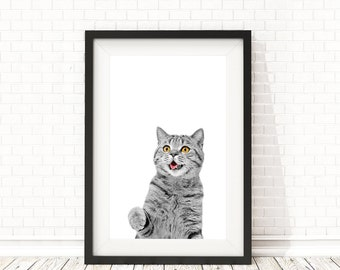 Cat print, Baby room decor, PRINTABLE art, Cute Cat poster, Baby Shower Gift, Nursery decor, Nursery wall art, Animal art, Baby animals art