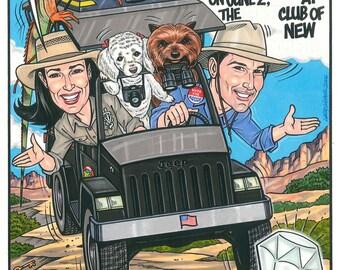 Custom Engagement Party Invitation Caricature Illustration