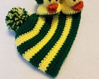Oregon Duck Hat & Bootie Set