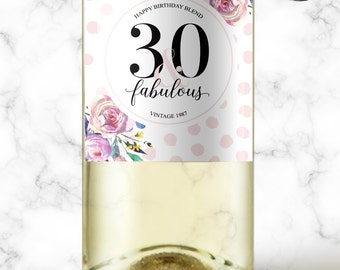 30 and Fabulous Birthday Gift, 40th Birthday Wine Label, 50 and Fabulous, Custom Wine Label, Milestone Birthday Mini Wine Labels, 30th, 136