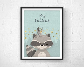 Nursery Art, Nursery Decor, Baby Woodland Decor, Nursery Racoon Decor, Baby Gift, Nursery Prints, Racoon, Neutral Wall Art, New Baby Gift