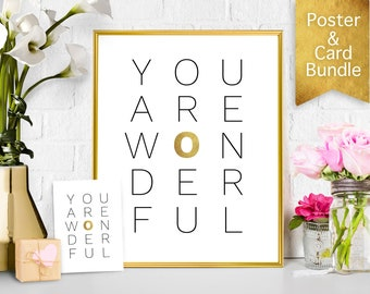 Mother's day gift, Printable poster card bundle, You are wonderful printable card, Quote card, mothers day DIY card, Printable card for mom