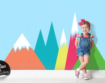 Mountains wall decal for Kids room, Nurseries, Peel and Stick, Removable wall decor, Landscape wall sticker, Self adhesive #52