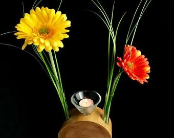 Vase with candle cherry half round 2,1er