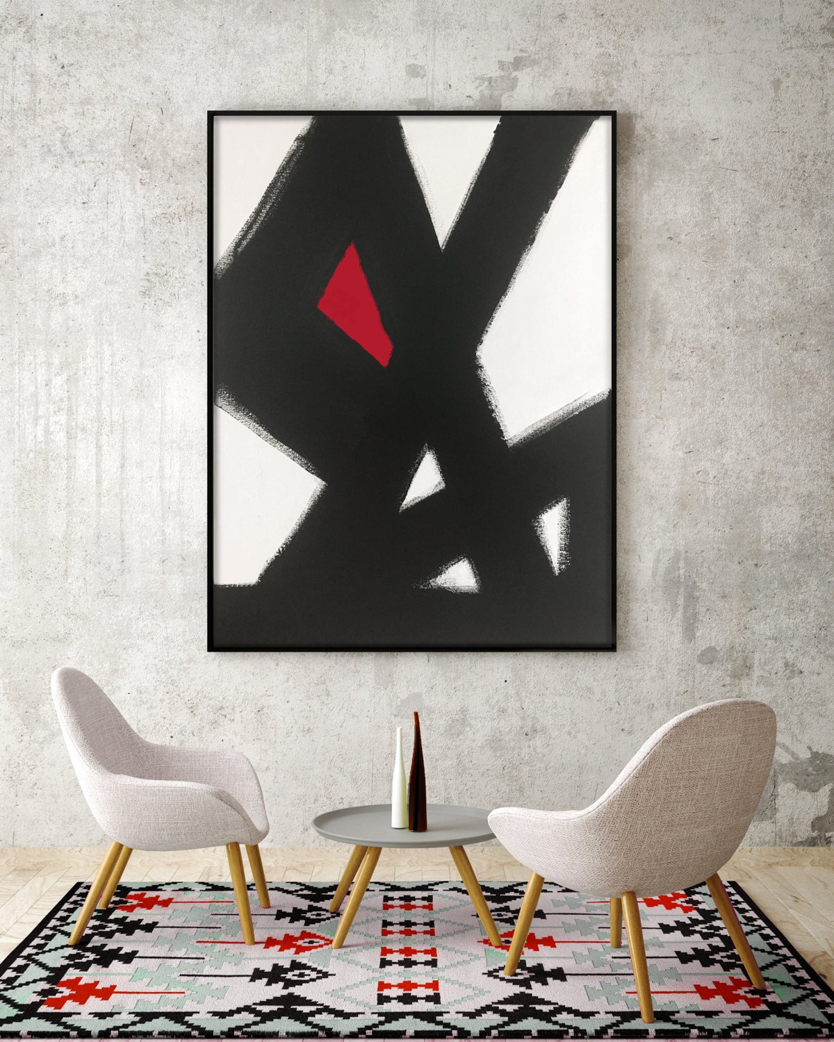 Black white red dining room - Abstract Black White Slash No 2 Red Modern Living Room Art Modern Dining Room Art Modern Bedroom Art Large Canvas Black White Red Art Red