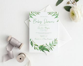 Baby Shower Invitation | Printed Invitation | Greenery Invitation |  Watercolour Leaves | Wreath | Greenery Baby Shower Invitation | Leaf