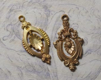 Vintage French Etruscan Style Charm Pendant Earring Finding Raw Brass Flat Back 1 Piece 2 Styles 322J 354J