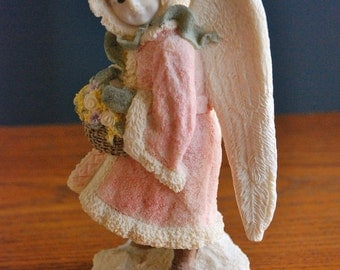 """Vintage United Design """"Winter Angel"""" - Limited Edition - Victorian Style Little Girl Angel w/ Basket - Hand Painted Resin - Made in the USA"""