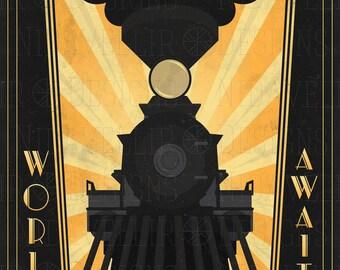 Art Deco Poster of Transcontinental passenger train. C.P.R. engine #374
