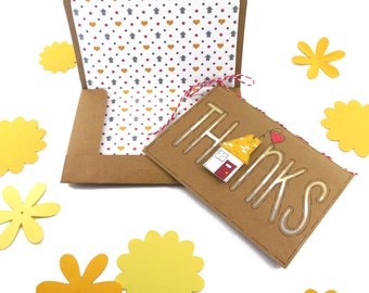 Little House Thank You Card and Envelope Set- Brown Craft Paper Card and Envelope with 3D House Design