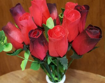 Red Ombre Wooden Roses