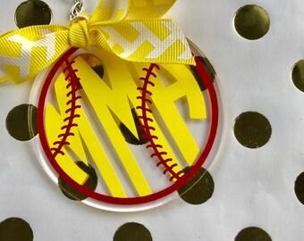 Softball or Baseball Monogram Keychain