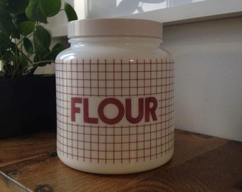 70's retro Milk glass CLP flour canister storage with screw top lid