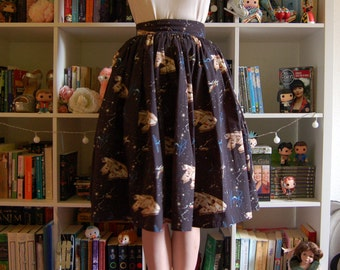 Millenium Falcon Star Wars Swing Gathered Skirt Midcentury 50s Fifties Handmade Made To Order X-Wing Fighter Cosplay Black