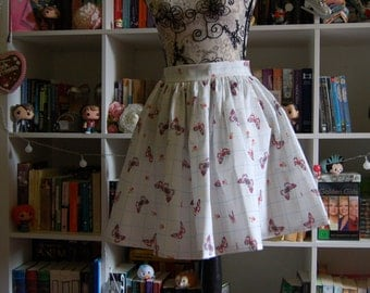 Butterfly Swing Gathered Skirt 50s Fifties Midcentury White Flared Handmade 60s