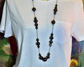 Vintage Necklace with Black Beads