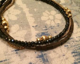 Pyrite & Hematite Handmade Bracelet