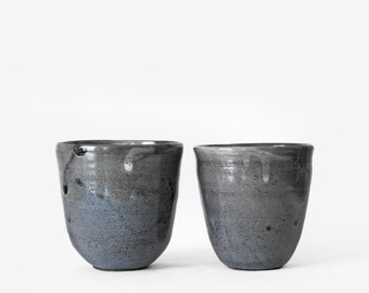 Nesting set of grey/blue stoneware bowls, wheel-thrown ceramic handmade