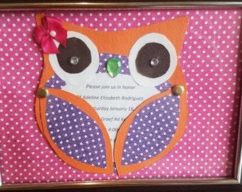 Handmade Owl Invitations
