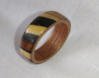 Multiwood diagonal bentwood ring