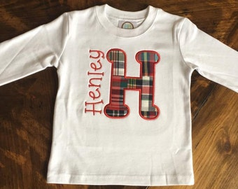 Plaid Applique Letter with Name on Blanks Boutique Shirt