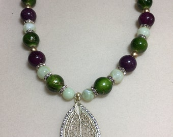 Plum and green necklace