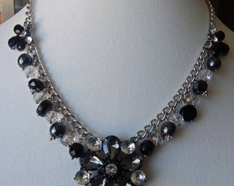 Darcy - Repurposed and upcycled statement necklace featuring crystals and charms, HelloMissyArt