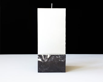 DARK, handmade concrete candle holder with marbled pattern in black, beton, cement, 8x8x16cm wax wood 3x3x6 inch